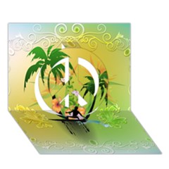 Surfing, Surfboarder With Palm And Flowers And Decorative Floral Elements Peace Sign 3d Greeting Card (7x5)  by FantasyWorld7