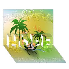 Surfing, Surfboarder With Palm And Flowers And Decorative Floral Elements Hope 3d Greeting Card (7x5)