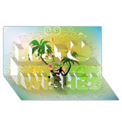 Surfing, Surfboarder With Palm And Flowers And Decorative Floral Elements Best Wish 3d Greeting Card (8x4)