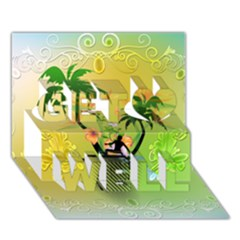 Surfing, Surfboarder With Palm And Flowers And Decorative Floral Elements Get Well 3d Greeting Card (7x5)  by FantasyWorld7