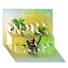 Surfing, Surfboarder With Palm And Flowers And Decorative Floral Elements You Rock 3d Greeting Card (7x5)  by FantasyWorld7