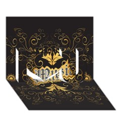 Music The Word With Wonderful Decorative Floral Elements In Gold I Love You 3d Greeting Card (7x5)  by FantasyWorld7