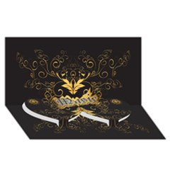 Music The Word With Wonderful Decorative Floral Elements In Gold Twin Heart Bottom 3d Greeting Card (8x4)  by FantasyWorld7