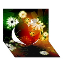 Awesome Flowers In Glowing Lights Heart 3d Greeting Card (7x5)