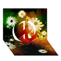 Awesome Flowers In Glowing Lights Peace Sign 3d Greeting Card (7x5)  by FantasyWorld7