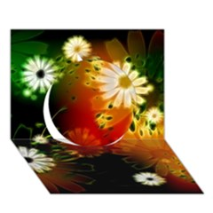 Awesome Flowers In Glowing Lights Circle 3d Greeting Card (7x5)