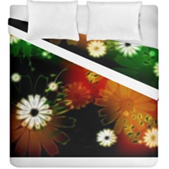 Awesome Flowers In Glowing Lights Duvet Cover (king Size) by FantasyWorld7