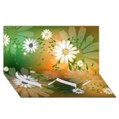 Beautiful Flowers With Leaves On Soft Background Twin Heart Bottom 3D Greeting Card (8x4)