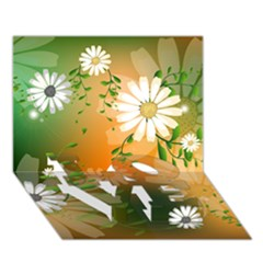 Beautiful Flowers With Leaves On Soft Background Love Bottom 3d Greeting Card (7x5)  by FantasyWorld7