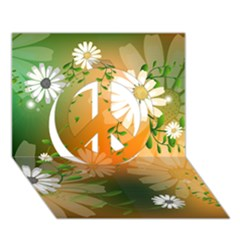Beautiful Flowers With Leaves On Soft Background Peace Sign 3d Greeting Card (7x5)