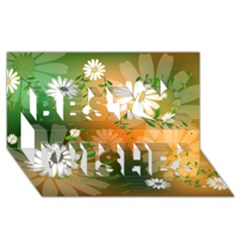 Beautiful Flowers With Leaves On Soft Background Best Wish 3d Greeting Card (8x4)  by FantasyWorld7