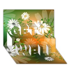 Beautiful Flowers With Leaves On Soft Background Get Well 3d Greeting Card (7x5)  by FantasyWorld7