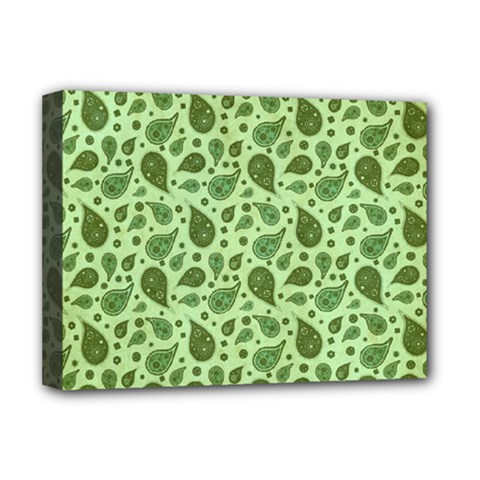 Vintage Paisley Green Deluxe Canvas 16  X 12   by MoreColorsinLife