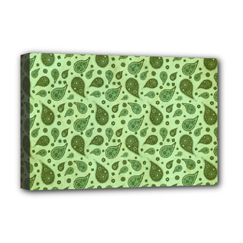 Vintage Paisley Green Deluxe Canvas 18  X 12   by MoreColorsinLife