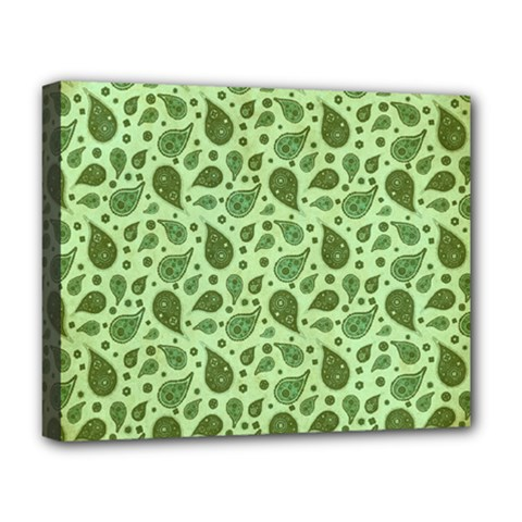Vintage Paisley Green Deluxe Canvas 20  X 16   by MoreColorsinLife