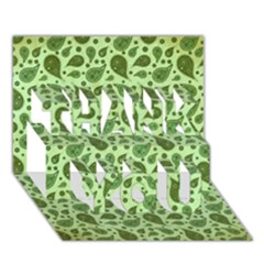 Vintage Paisley Green Thank You 3d Greeting Card (7x5)