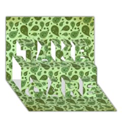 Vintage Paisley Green Take Care 3d Greeting Card (7x5)  by MoreColorsinLife