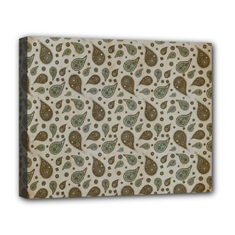 Vintage Paisley Grey Deluxe Canvas 20  X 16   by MoreColorsinLife
