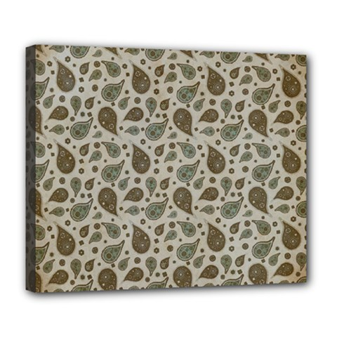 Vintage Paisley Grey Deluxe Canvas 24  X 20   by MoreColorsinLife
