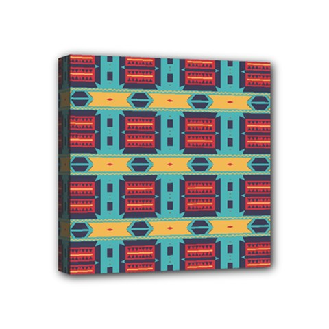 Blue Red And Yellow Shapes Pattern Mini Canvas 4  X 4  (stretched) by LalyLauraFLM