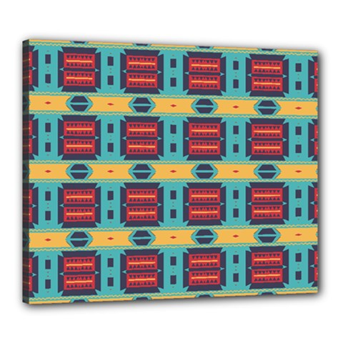 Blue Red And Yellow Shapes Pattern Canvas 24  X 20  (stretched) by LalyLauraFLM