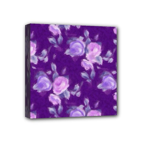 Vintage Roses Purple Mini Canvas 4  X 4  by MoreColorsinLife