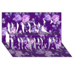 Vintage Roses Purple Happy Birthday 3d Greeting Card (8x4)  by MoreColorsinLife