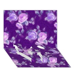 Vintage Roses Purple Love Bottom 3d Greeting Card (7x5)