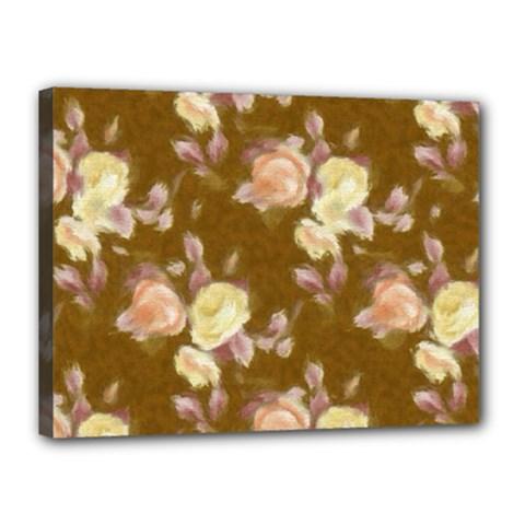 Vintage Roses Golden Canvas 16  X 12  by MoreColorsinLife