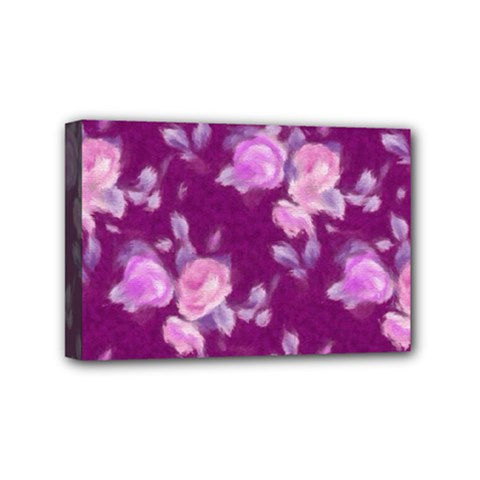 Vintage Roses Pink Mini Canvas 6  X 4  by MoreColorsinLife