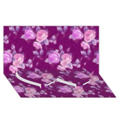 Vintage Roses Pink Twin Heart Bottom 3d Greeting Card (8x4)