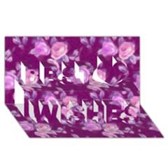 Vintage Roses Pink Best Wish 3d Greeting Card (8x4)