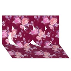Vintage Roses Twin Hearts 3d Greeting Card (8x4)  by MoreColorsinLife