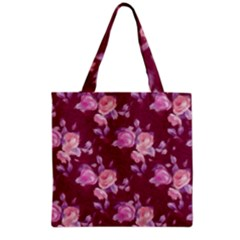 Vintage Roses Grocery Tote Bags by MoreColorsinLife
