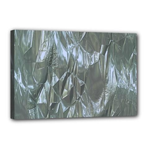 Crumpled Foil Blue Canvas 18  x 12  by MoreColorsinLife