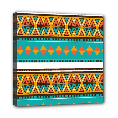 Tribal Design In Retro Colors Mini Canvas 8  X 8  (stretched) by LalyLauraFLM