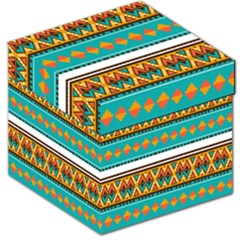 Tribal Design In Retro Colors Storage Stool by LalyLauraFLM