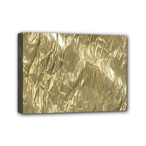 Crumpled Foil Golden Mini Canvas 7  x 5  by MoreColorsinLife