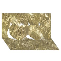 Crumpled Foil Golden Twin Hearts 3d Greeting Card (8x4)  by MoreColorsinLife