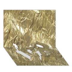 Crumpled Foil Golden Love Bottom 3d Greeting Card (7x5)