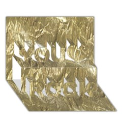 Crumpled Foil Golden You Rock 3d Greeting Card (7x5)  by MoreColorsinLife