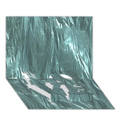 Crumpled Foil Teal Love Bottom 3d Greeting Card (7x5)