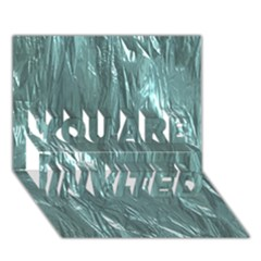 Crumpled Foil Teal You Are Invited 3d Greeting Card (7x5)