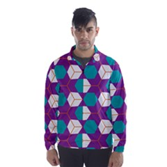 Cubes In Honeycomb Pattern Wind Breaker (men) by LalyLauraFLM