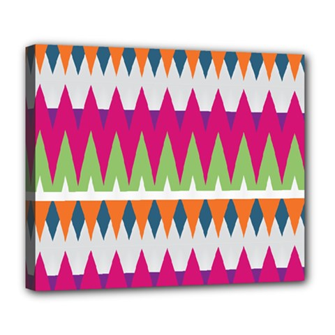 Chevron Pattern Deluxe Canvas 24  X 20  (stretched) by LalyLauraFLM