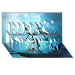 Awesome Ship Wreck With Dolphin And Light Effects Happy Birthday 3d Greeting Card (8x4)