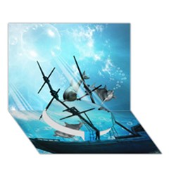 Awesome Ship Wreck With Dolphin And Light Effects Circle Bottom 3d Greeting Card (7x5)  by FantasyWorld7