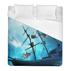 Awesome Ship Wreck With Dolphin And Light Effects Duvet Cover Single Side (twin Size)