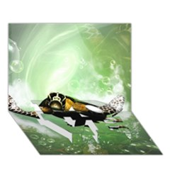 Wonderful Sea Turtle With Bubbles Love Bottom 3d Greeting Card (7x5)