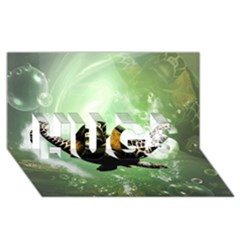 Wonderful Sea Turtle With Bubbles Hugs 3d Greeting Card (8x4)